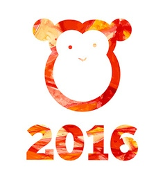 2016 and fire monkey with aquarelle effects in vector