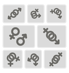 Monochrome icons with symbols of gender vector