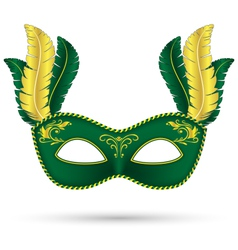 Green mask with feathers vector