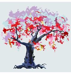 Cartoon pink flowering tree vector