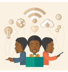 Black men using modern technology vector