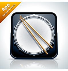 Drum musical app icon vector