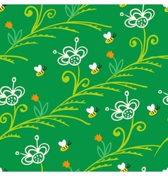 Pattern with stylized flowers and bees vector