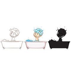 Sketches of a boy taking a bath vector