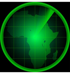 Radar screen with a silhouette of africa vector
