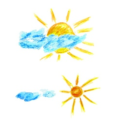 Hand drawn sun and clouds vector