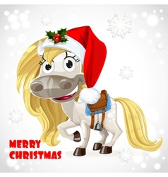 Merry christmas card with cute white baby horse vector