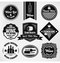 Wine set labels vector