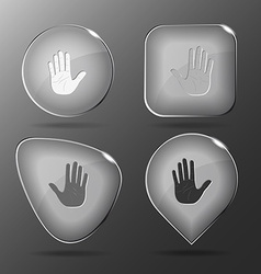 Stop hand glass buttons vector