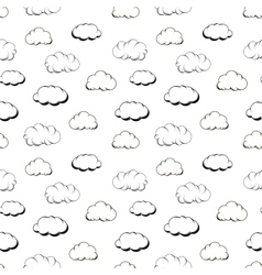 Retro hand engraving clouds on white seamless vector
