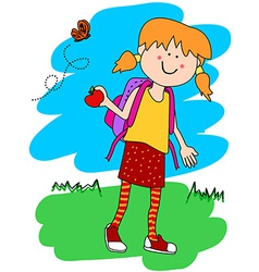 Little girl with backpack and apple vector