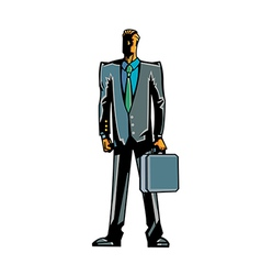 Close-up of man holding suitcase vector