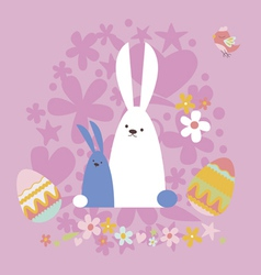 Easter card with two rabbits and bird vector