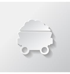 Mining coal cart icon vector