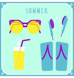 Blue summer card with sunglasses headphones vector