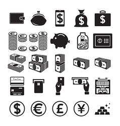 Set of money icons vector