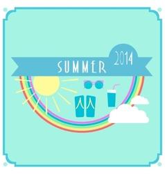 Blue summer card with sun rainbow clouds vector