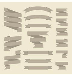 Brown or gray ribbons set isolated on white vector