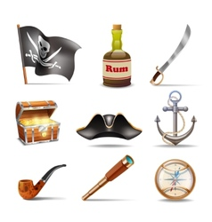 Pirate icons set colorful vector