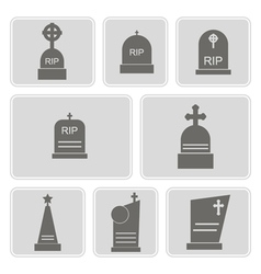Monochrome icons with grave vector