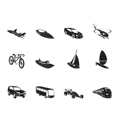 Silhouette transportation and travel icons vector