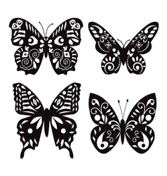 Butterflies silhouette isolated on white vector