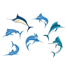 Blue marlins or swordfishes logo or emblems vector