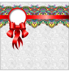 Ethnic ornamental pattern with silk ribbon and vector