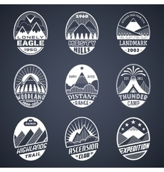 Mountain badge set2 white vector