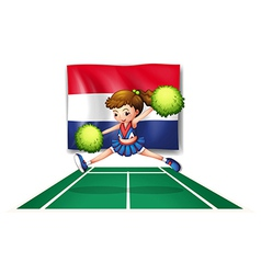 The flag of netherlands and the young cheerdancer vector