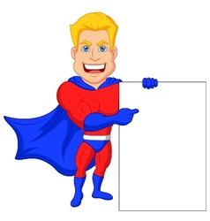 Superhero cartoon with blank sign vector