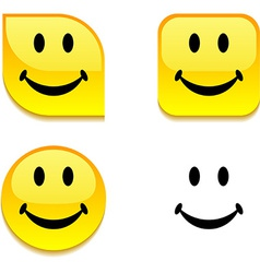 Smiley glossy button vector