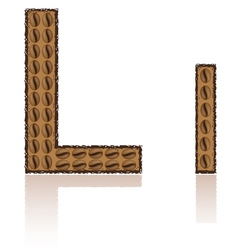 Letter l is made grains of coffee isolated on whit vector