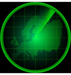 Radar screen with a silhouette of europe vector