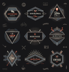 Set of hipster trendy emblems labels and sign vector