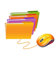 Computer mouse and folders vector