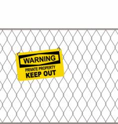 Wire fence and warning sign vector