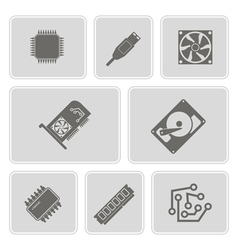 Icons with computer hardware and components vector