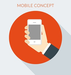 Mobile concept hand of the person with mobile vector