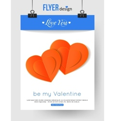 Valentines day brochure template with paper hearts vector