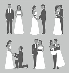 Set of bride and groom vector