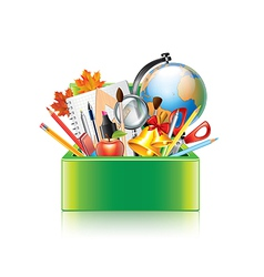 School supplies box isolated vector