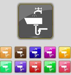 Washbasin icon sign set with eleven colored vector