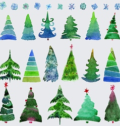 Christmas trees and snowflake set of holidays hand vector