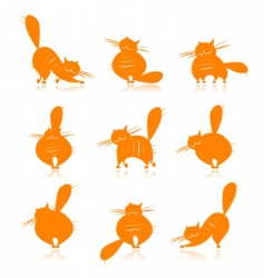 Fat cats silhouettes vector
