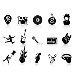 Rock and roll music icons vector