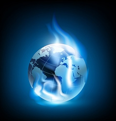 Planet earth and blue flames vector