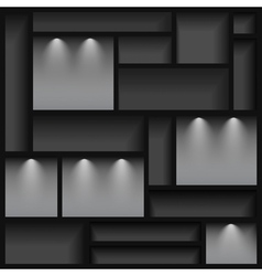 Empty shelves illuminated with reflector ligh vector