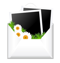 Open envelope with photo and flowers vector