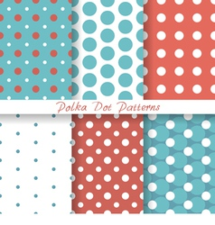Pastel seamless patterns polka dot vector